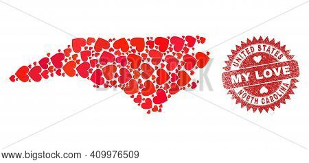 Vector Mosaic North Carolina State Map Of Lovely Heart Elements And Grunge My Love Seal. Mosaic Geog