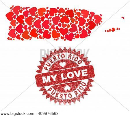 Vector Mosaic Puerto Rico Map Of Valentine Heart Items And Grunge My Love Seal. Mosaic Geographic Pu