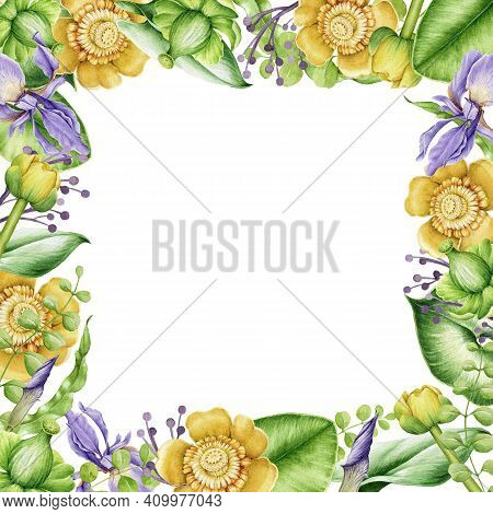 Square Flower Frame. Bright Hand Drawn Flowers In Decorative Banner. Watercolor Realistic Garden Flo