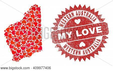 Vector Collage Western Australia Map Of Love Heart Elements And Grunge My Love Badge. Collage Geogra