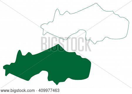 Kamrup Metropolitan District (assam State, Republic Of India) Map Vector Illustration, Scribble Sket