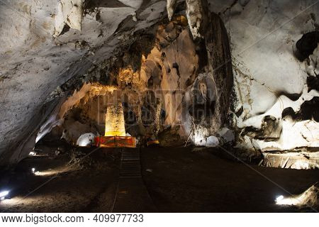 Stalagmite Phra That Nompha In Tham Muang On Cave At Limestone Mountain Situated Of Mae On For Thai