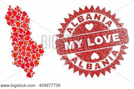 Vector Mosaic Albania Map Of Valentine Heart Items And Grunge My Love Badge. Collage Geographic Alba