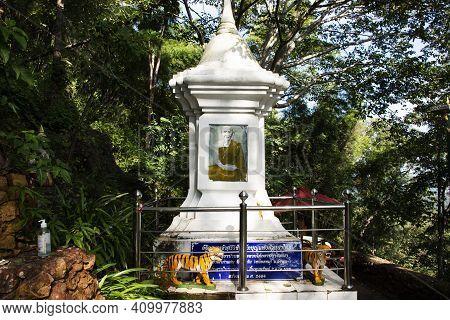 Stupa Pagoda Of Saint Of Lanna Kruba Sriwichai Or Khruba Siwichai Thai Buddhist Monk At Front Of Tha