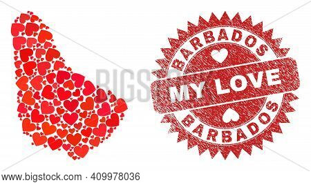 Vector Mosaic Barbados Map Of Love Heart Elements And Grunge My Love Stamp. Mosaic Geographic Barbad