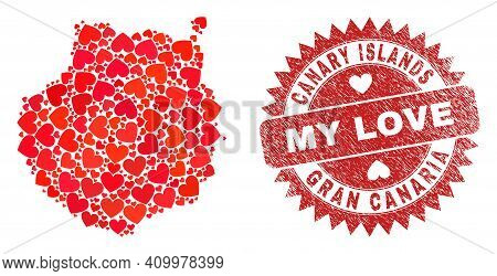 Vector Mosaic Gran Canaria Map Of Love Heart Elements And Grunge My Love Seal. Mosaic Geographic Gra