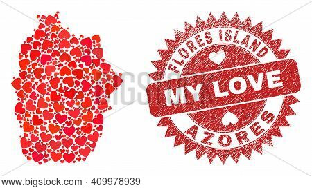 Vector Mosaic Flores Island Of Azores Map Of Love Heart Elements And Grunge My Love Seal Stamp. Coll