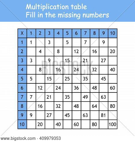 Multiplication Square. Paste The Missing Numbers. School Vector Illustration With Colorful Cubes. Mu