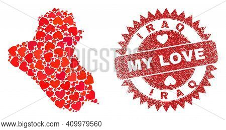 Vector Collage Iraq Map Of Love Heart Items And Grunge My Love Seal Stamp. Collage Geographic Iraq M