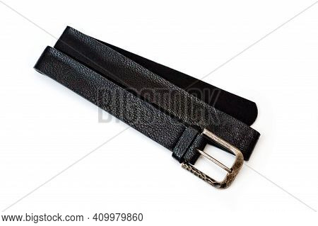 Black Faux Leather Belt With Classic Buckle For Trousers And Jeans.