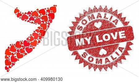 Vector Mosaic Somalia Map Of Love Heart Items And Grunge My Love Stamp. Mosaic Geographic Somalia Ma