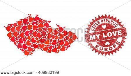 Vector Collage Czech Republic Map Of Love Heart Elements And Grunge My Love Stamp. Collage Geographi