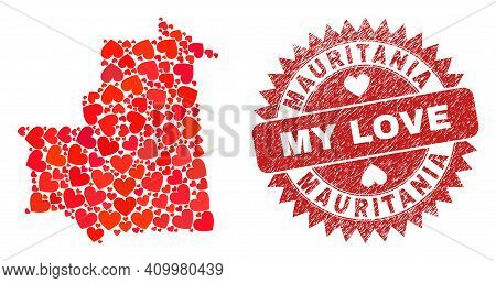 Vector Mosaic Mauritania Map Of Love Heart Elements And Grunge My Love Stamp. Mosaic Geographic Maur