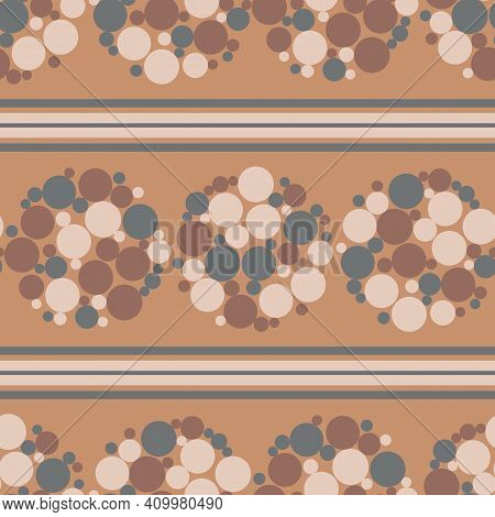 Abstract Flower Head Bubble Vector Seamless Pattern Background. Circles Within Circular Shapes And H