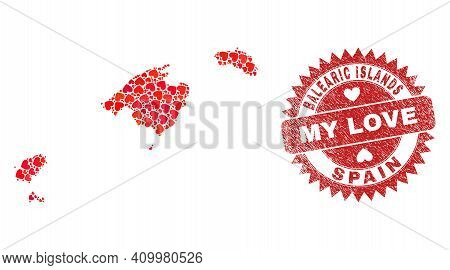 Vector Mosaic Balearic Islands Map Of Lovely Heart Elements And Grunge My Love Seal Stamp. Mosaic Ge