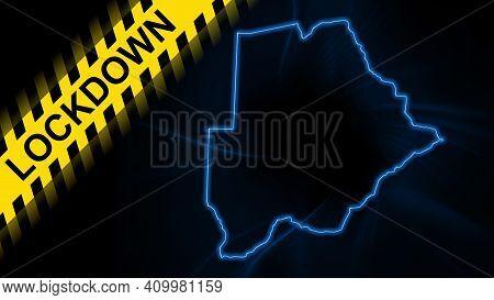 Lockdown Botswana, Outline Map Coronavirus, Outbreak Quarantine, On Dark Background