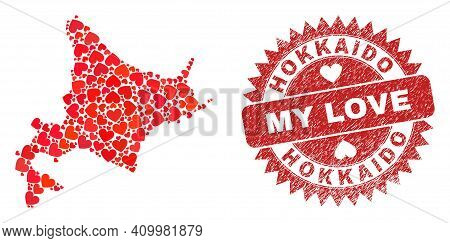 Vector Collage Hokkaido Map Of Love Heart Items And Grunge My Love Badge. Collage Geographic Hokkaid