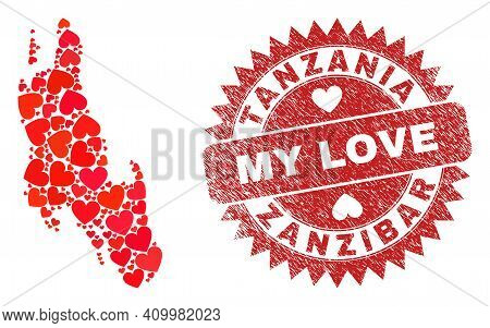 Vector Collage Zanzibar Island Map Of Lovely Heart Elements And Grunge My Love Seal Stamp. Mosaic Ge