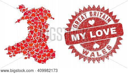 Vector Mosaic Wales Map Of Valentine Heart Elements And Grunge My Love Stamp. Mosaic Geographic Wale