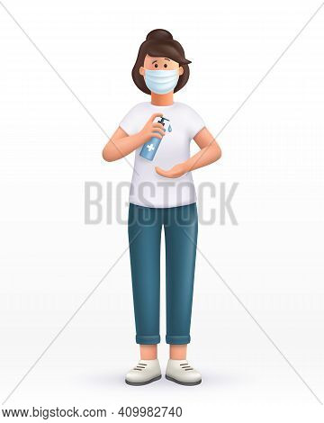 3d Cartoon Character. Young Woman Wearing Mask ,using Alcohol Antiseptic Gel, Sanitizer To Clean Han