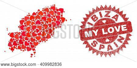 Vector Mosaic Ibiza Island Map Of Valentine Heart Elements And Grunge My Love Stamp. Mosaic Geograph