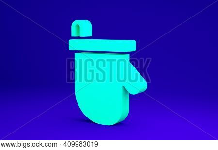 Green Sauna Mittens Icon Isolated On Blue Background. Mitten For Spa. Minimalism Concept. 3d Illustr