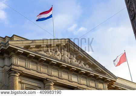 Utrecht, The Netherlands - 21 Jan, 2021: Dutch And Utrecht Flag Waving On The City Hall Of Utrecht