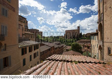 View From The Old Town Siena To The Basilica Of San Domenico, Also Known As Basilica Cateriniana, Si