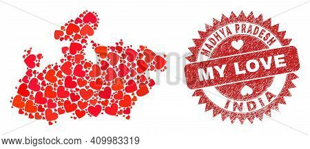Vector Mosaic Madhya Pradesh State Map Of Love Heart Elements And Grunge My Love Seal. Mosaic Geogra