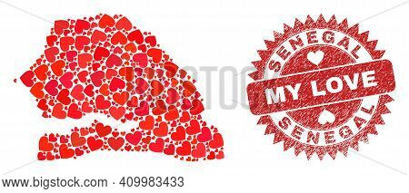 Vector Mosaic Senegal Map Of Love Heart Elements And Grunge My Love Stamp. Mosaic Geographic Senegal