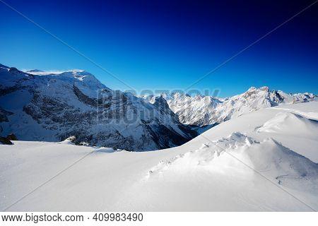 Peaks On Pralognan-la-vanoise Ski Resort On Sunny Snow Day, French Alps