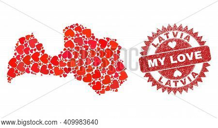 Vector Mosaic Latvia Map Of Love Heart Items And Grunge My Love Seal Stamp. Mosaic Geographic Latvia