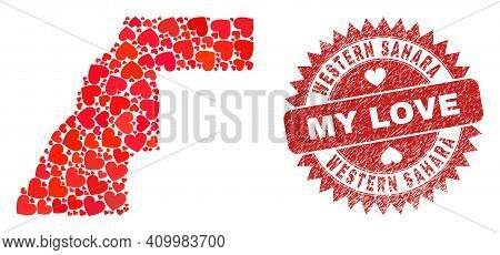 Vector Collage Western Sahara Map Of Valentine Heart Elements And Grunge My Love Seal Stamp. Collage