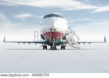 Front View Of The Modern Corporate Business Jet With Open Gangway Door Isolated On Bright Background