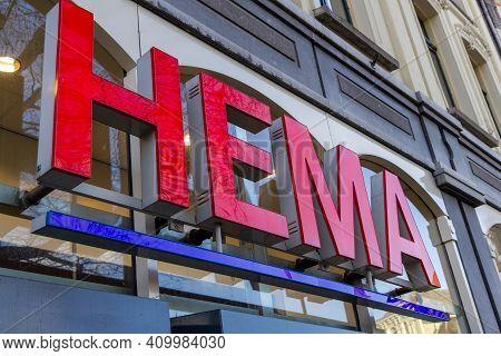 Utrecht, The Netherlands - 21 Jan, 2021: Hema Sign And Logo On A Shop In Utrecht. The Hema Is A Dutc