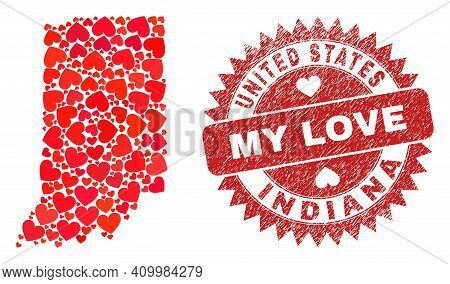 Vector Collage Indiana State Map Of Lovely Heart Elements And Grunge My Love Stamp. Collage Geograph