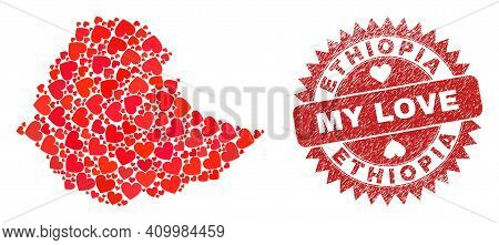 Vector Mosaic Ethiopia Map Of Valentine Heart Elements And Grunge My Love Seal Stamp. Mosaic Geograp