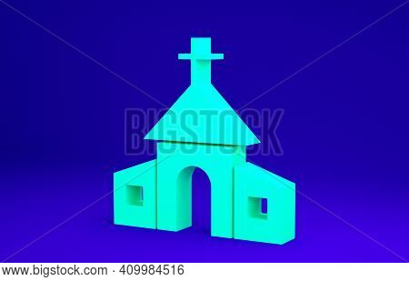 Green Church Building Icon Isolated On Blue Background. Christian Church. Religion Of Church. Minima