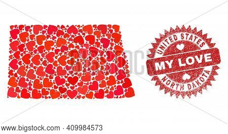 Vector Mosaic North Dakota State Map Of Lovely Heart Elements And Grunge My Love Seal. Mosaic Geogra