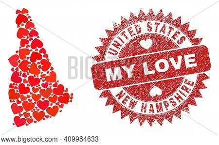Vector Collage New Hampshire State Map Of Valentine Heart Elements And Grunge My Love Seal Stamp. Co