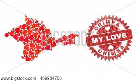 Vector Collage Crimea Map Of Love Heart Items And Grunge My Love Stamp. Collage Geographic Crimea Ma