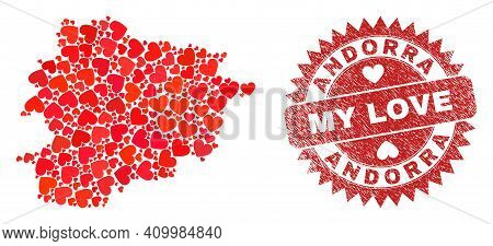 Vector Collage Andorra Map Of Love Heart Elements And Grunge My Love Stamp. Collage Geographic Andor
