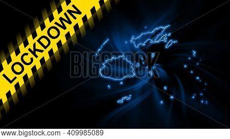 Lockdown Fiji, Outline Map Coronavirus, Outbreak Quarantine, On Dark Background