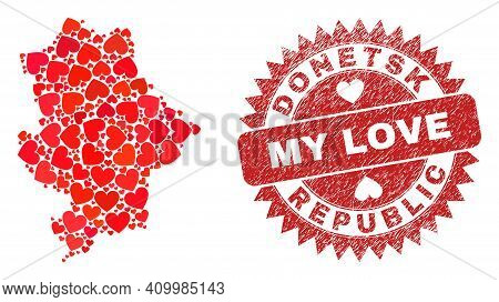 Vector Mosaic Donetsk Republic Map Of Lovely Heart Elements And Grunge My Love Badge. Mosaic Geograp