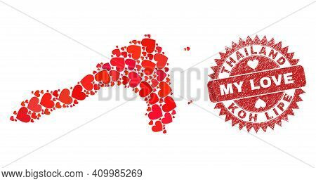 Vector Mosaic Koh Lipe Map Of Lovely Heart Elements And Grunge My Love Badge. Mosaic Geographic Koh