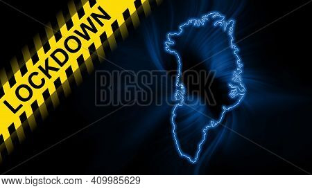 Lockdown Greenland, Outline Map Coronavirus, Outbreak Quarantine, On Dark Background