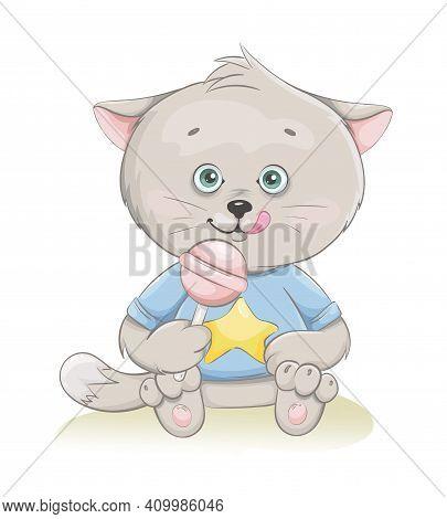 Cute Little Kitten Sitting With Candy. Funny Kitten Cartoon Character. Stock Vector Illustration On