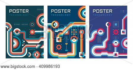 Digital Technology Poster Background Design Set. Electronic Network Vector Banner. Database Communic