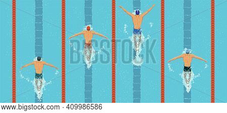 Swimmers Top View. Men Swim Butterfly Style In The Swimming Pool. Sports Competition. View From Abov