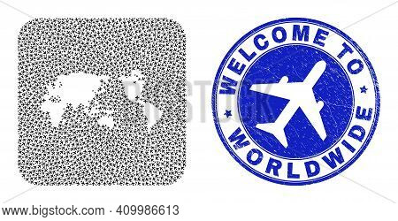 Vector Mosaic Worldwide Map Of Airliner Elements And Grunge Welcome Badge. Mosaic Geographic Worldwi
